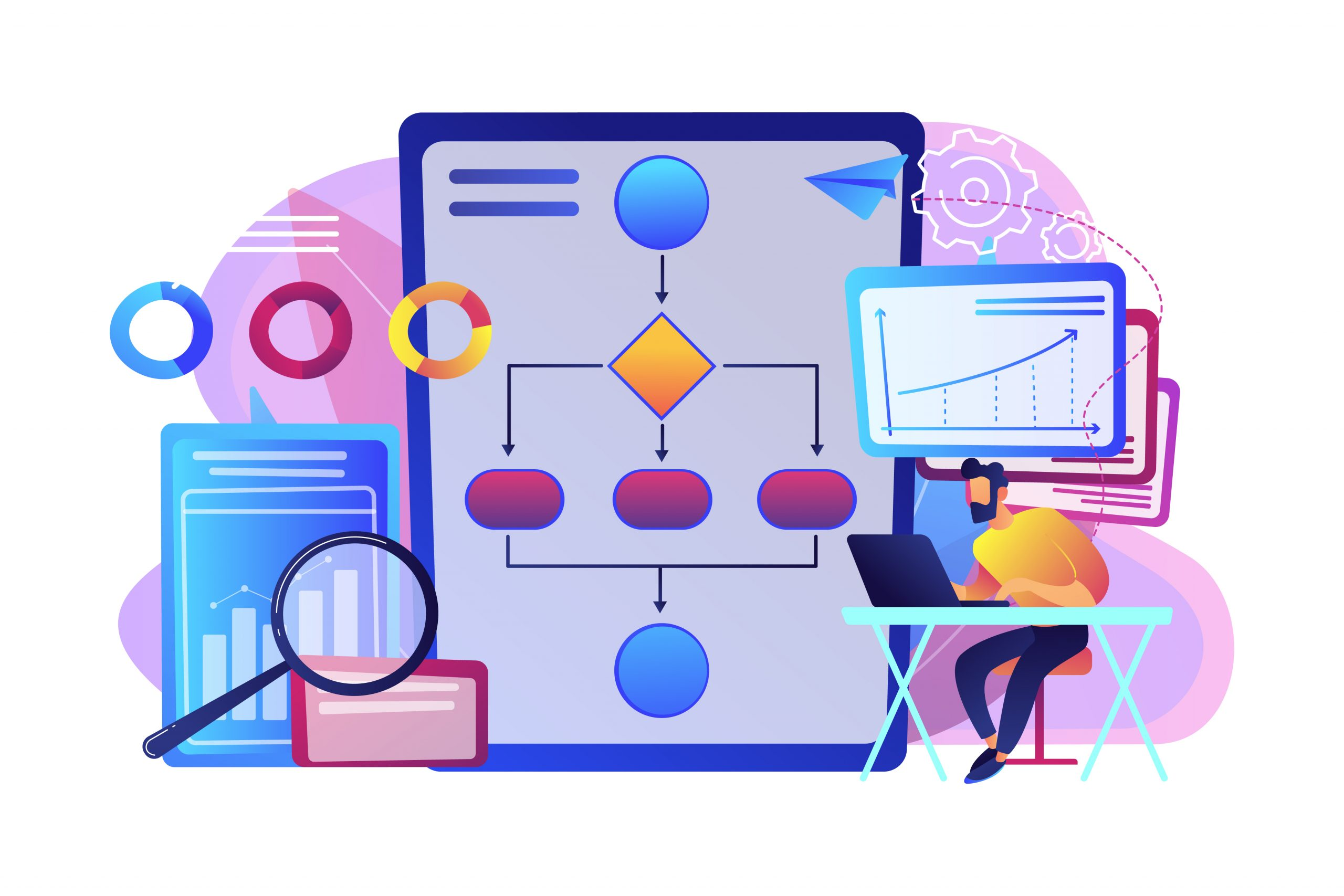 A citizen developer working at laptop with automation process. Business process automation, business process workflow, automated business system concept. Bright vibrant violet vector isolated illustration